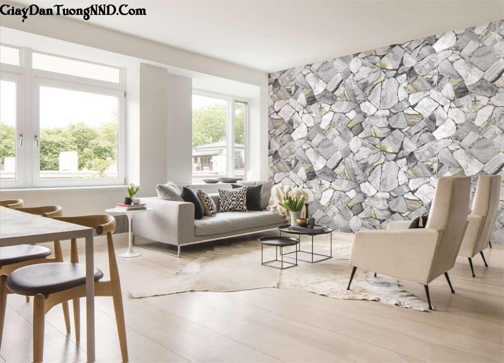 Giấy dán tường giả gạch, giả đá 3D rất được ưa chuộng để dán tường điểm nhấn cho phòng khách