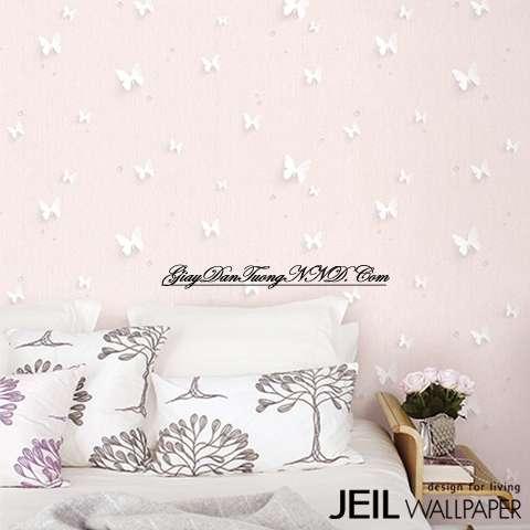 Giấy dán tường màu hồng trang trí cho không gian phòng ngủ của người mện Hỏa