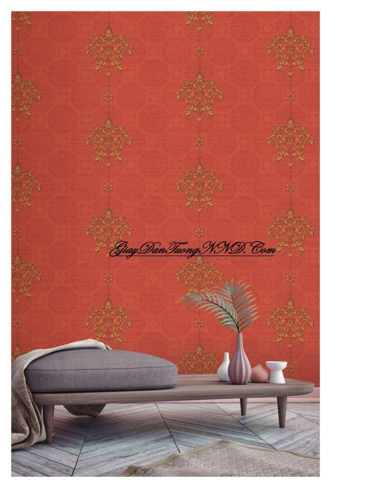 Giấy dán tường màu da cam cho người mệnh Hỏa