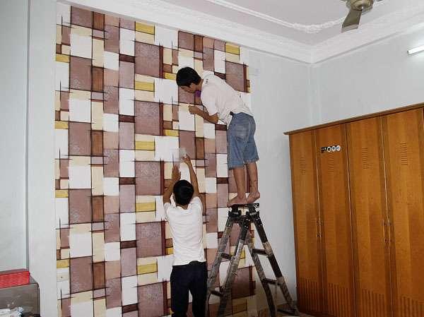 Các bước thi công giấy dán tường giá rẻ tại nhà